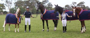 The Revelwood team showing off their championship rugs and ribbons at the recent 2014 Saddleworld Dressage Championships